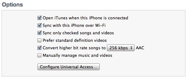 iTunes sync options
